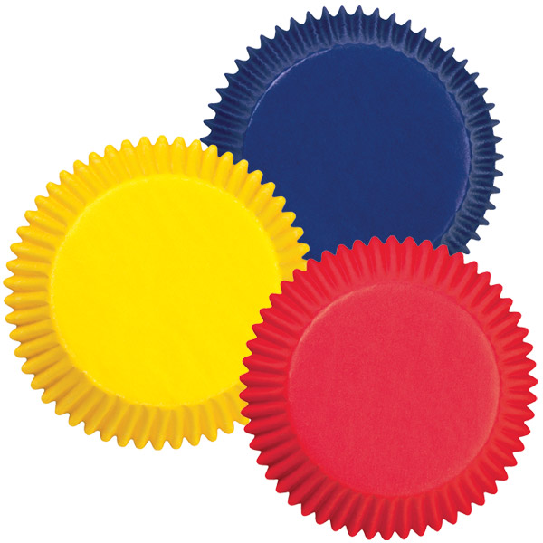 Assorted Primary Colors Mini Baking Cups