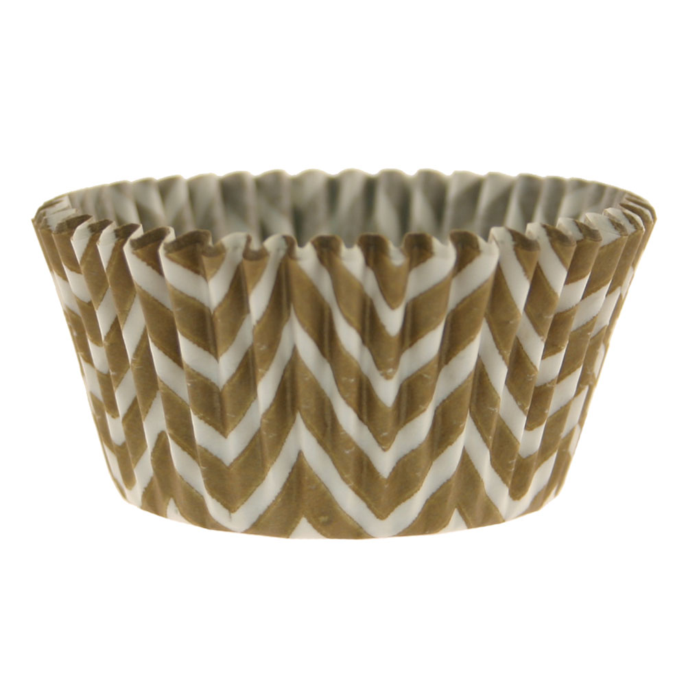 Gold Chevron  Baking Cups