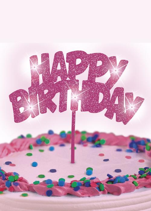 Glitz Pink Flashing Happy Birthday Cake Pick