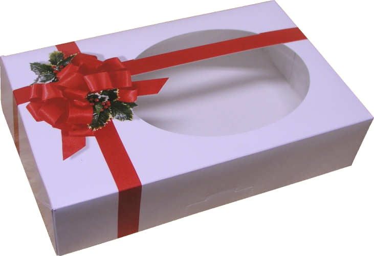 1 lb. Cookie Box: 8-1/2 x 5-3/8 x 2 - Ribbon and Holly w/Window