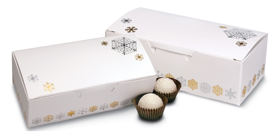 1 lb. 1 Piece Candy Box: 5 1/2 x 2 3/4 x 1 3/4 in. - Silver/Gold snowflakes