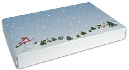 1/2 lb. 2 Piece Candy Box: 7 x 4 1/2 x 1 in. - Winter Scene