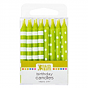 Lime Green Stripes and Dots Candles