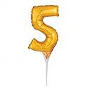 #5 Gold Decorative Balloon Cake Topper