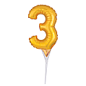 #3 Gold Decorative Balloon Cake Topper