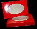 """1 lb. 2 Piece Candy Box: 9 5/8"""" x 6 1/8"""" x 1 1/8 in. - Red Oval Window"""