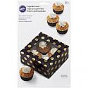 Window Cupcake Box - Brown w/Gold Dots