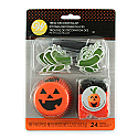 Halloween - Jack-O-Lantern Cups with Leaf Pics, and Black Gel and Orange Sanding Sugar