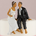 Whimsical Sitting Bride and Groom Cake Topper (Non-Caucasian)